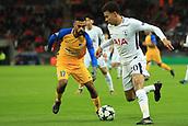 6th December 2017, Wembley Stadium, London England; UEFA Champions League football, Tottenham Hotspur versus Apoel Nicosia; Dele Alli of Tottenham Hotspur takes on Ghayas Zahid of Apoel FC