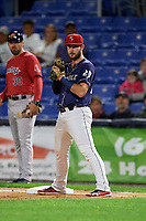 Binghamton Rumble Ponies first baseman Joey Terdoslavich (20) during a game against the Portland Sea Dogs on August 31, 2018 at NYSEG Stadium in Binghamton, New York.  Portland defeated Binghamton 4-1.  (Mike Janes/Four Seam Images)