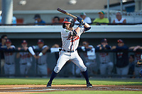 Cody Milligan (7) of the Danville Braves at bat against the Burlington Royals at Burlington Athletic Stadium on July 13, 2019 in Burlington, North Carolina. The Royals defeated the Braves 5-2. (Brian Westerholt/Four Seam Images)