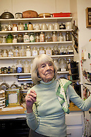 Book editor and author Judith Jones poses in the kitchen of her New York City apartment, USA, 2 October 2009.