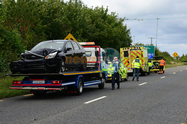 the scene of the accident on the Drogheda to Slane roadon Sunday evening, the occupants of the vehicles were removed to Our Lady of Lourdes hospital in Dorgheda.<br /> Picture:  &copy;Newsfile | Andy Spearman<br /> <br /> <br /> All image usage must carry &copy;Newsfie | Andy Spearman