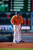 St. Lucie Mets starting pitcher Anthony Kay (19) looks in for the sign during a game against the Daytona Tortugas on August 3, 2018 at First Data Field in Port St. Lucie, Florida.  Daytona defeated St. Lucie 3-2.  (Mike Janes/Four Seam Images)