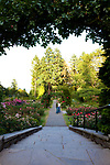 The Portland, Oregon Rose Gardens are the oldest public garden of its kind in the United States. The rose test garden contains 10,000 plantings of 550 varieties of roses and is located in Portland's Washington Park, just below the Japanese Garden.