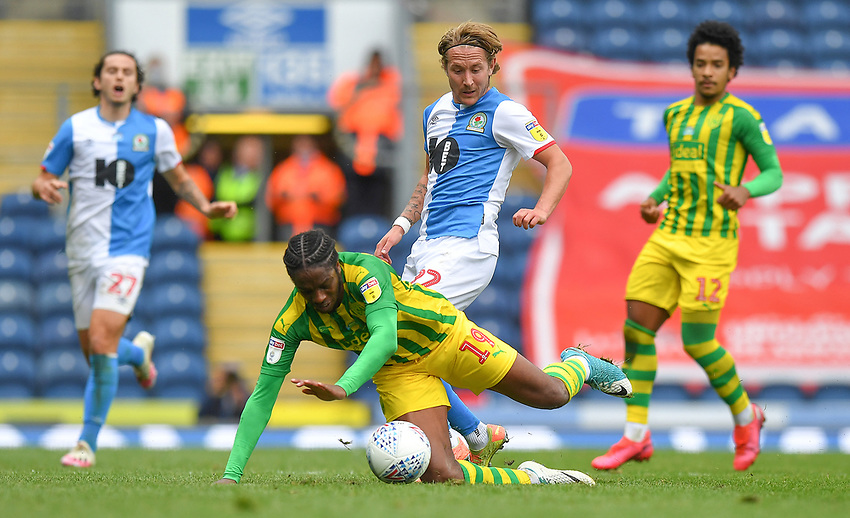 Blackburn Rovers' Lewis Holtby battles with West Bromwich Albion's Romaine Sawyers<br /> <br /> Photographer Dave Howarth/CameraSport<br /> <br /> The EFL Sky Bet Championship - Blackburn Rovers v West Bromwich Albion - Saturday 11th July 2020 - Ewood Park - Blackburn <br /> <br /> World Copyright © 2020 CameraSport. All rights reserved. 43 Linden Ave. Countesthorpe. Leicester. England. LE8 5PG - Tel: +44 (0) 116 277 4147 - admin@camerasport.com - www.camerasport.com