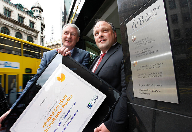 Pictured at the announcement by the Financial Regulator of the approval of the Advanced Certificate in Credit Union Practice (ACCUP) was Adrian O'Brien, Deputy Head of the Financial Regulator's Consumer Protection Department and Mark Bailey, President of the Irish League of Credit Unions.