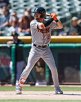 Derek Fisher (22) of the Fresno Grizzlies at bat against the Salt Lake Bees in Pacific Coast League action at Smith's Ballpark on April 16, 2017 in Salt Lake City, Utah. Salt Lake defeated Fresno 5-4. (Stephen Smith/Four Seam Images)
