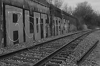 Graffiti along railroad right-of-way, Cleveland, Ohio