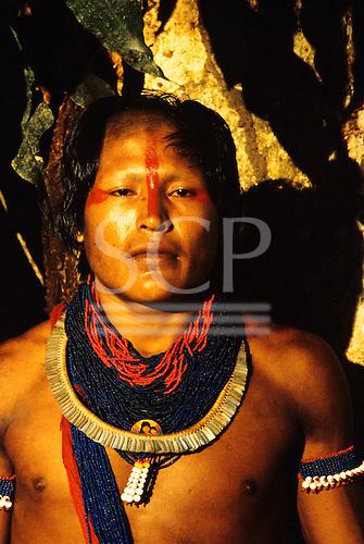 Xingu, Brazil. Young Xicrin Kayapo Indian man from village of Catete.