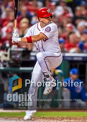6 October 2017: Washington Nationals first baseman Ryan Zimmerman at bat during the first game of the NLDS against the Chicago Cubs at Nationals Park in Washington, DC. The Cubs shut out the Nationals 3-0 to take a 1-0 lead in their best of five Postseason series. Mandatory Credit: Ed Wolfstein Photo *** RAW (NEF) Image File Available ***
