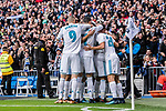 Nacho Fernandez of Real Madrid celebrating his score with his teammates during the La Liga 2017-18 match between Real Madrid and Sevilla FC at Santiago Bernabeu Stadium on 09 December 2017 in Madrid, Spain. Photo by Diego Souto / Power Sport Images