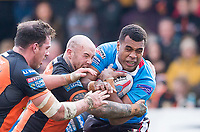 Picture by Allan McKenzie/SWpix.com - 11/03/2018 - Rugby League - Betfred Super League - Castleford Tigers v Salford Red Devils - the Mend A Hose Jungle, Castleford, England - Salford's Ben Nakubuwai is tackled by Castleford's Nathan Massey.