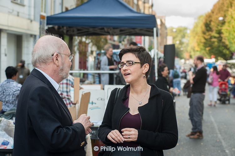 Camden Council Leader Sarah Hayward launches revamped Chalton Street market.