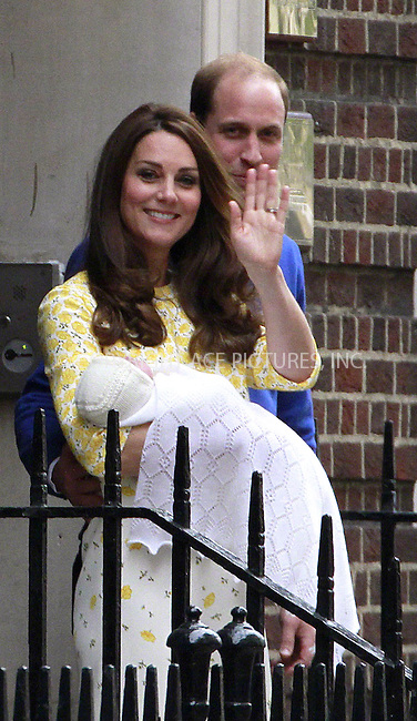 WWW.ACEPIXS.COM<br /> <br /> May 2 2015, London<br /> <br /> Catherine, Duchess of Cambridge and Prince William, Duke of Cambridge leaving the Lindo Wing with their newborn daughter Charlotte at St Mary's Hospital on May 2, 2015 in London, England. <br /> <br /> <br /> By Line: Famous/ACE Pictures<br /> <br /> <br /> ACE Pictures, Inc.<br /> tel: 646 769 0430<br /> Email: info@acepixs.com<br /> www.acepixs.com