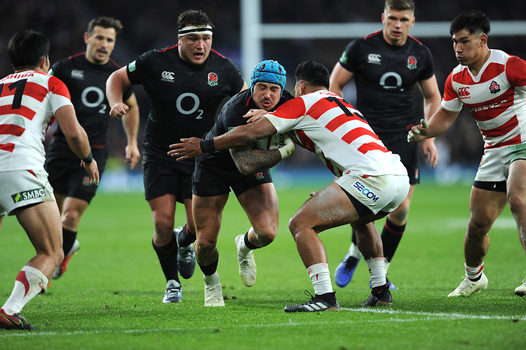 Jack Nowellof England is tackled by Timothy Lafaele of Japan during the Quilter International match between England and Japan at Twickenham Stadium on Saturday 17th November 2018 (Photo by Rob Munro/Stewart Communications)