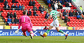 3rd February 2019, McDiarmid Park, Perth, Scotland; Ladbrokes Premiership football, St Johnston versus Celtic;  Jozo Simunovic of Celtic has a shot blocked by goalkeeper Zander Clark (StJ)