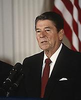 Washington DC., USA, July 24, 1984<br /> President Ronald Reagan News Conference Credit: Mark Reinstein/MediaPunch
