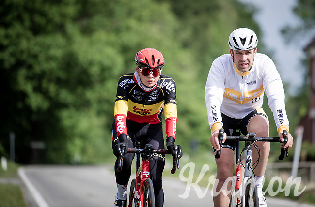 Belgian champion Jesse Vandenbulcke (BEL/Lotto Soudal Ladies) training on home roads in Flanders during the 2020 lockdown (due to the COVID19/corona-virus) together with former triple CX champion Erwin Vervecken for a CyclingBe Magazine shoot<br /> <br /> ©kramon