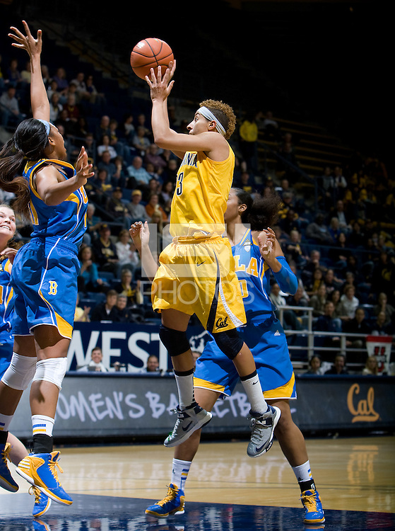 Layshia Clarendon of California shoots the ball during the game against UCLA at Haas Pavilion in Berkeley, California on January 20th, 2013.   California defeated UCLA, 70-65.