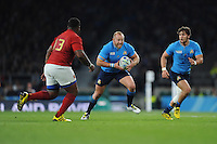 Leonardo Ghiraldini of Italy charges upfield during Match 5 of the Rugby World Cup 2015 between France and Italy - 19/09/2015 - Twickenham Stadium, London <br /> Mandatory Credit: Rob Munro/Stewart Communications