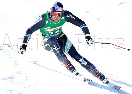 Aksel Lund Svindal of Norway skiing in Mens Super-G race of Audi FIS alpine skiing World Cup in Hinterstoder, Austria. Super-G race of Mens Audi FIS Alpine skiing World Cup 2010-11, was held on Saturday, 5th of February 2011, in Hinterstoder, Austria..