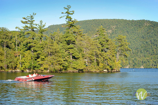 Lake George, Adirondacks with motorboat.