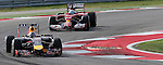 Formula 1 United States Grand Prix 2014, 31.10.-02.11.14<br /> Sebastian Vettel (GER#1), Infiniti Red Bull Racing, Fernando Alonso (SPA#14), Scuderia Ferrari<br /> Foto &copy; nordphoto /  Bratic