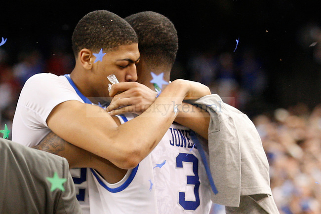 Anthony Davis and Terrence Jones embrace after the championship game of the NCAA Tournament between the University of Kentucky and Kansas University, in the Superdome, on Monday, April 2, 2012 in New Orleans, La. Kentucky won 67-59 Photo by Latara Appleby | Staff