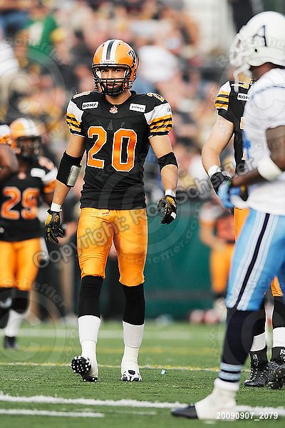 September 7, 2009; Hamilton, ON, CAN; Hamilton Tiger-Cats defensive back Dylan Barker (20). CFL football - the Labour Day Classic - Toronto Argonauts vs. Hamilton Tiger-Cats at Ivor Wynne Stadium. The Tiger-Cats defeated the Argos 34-15. Mandatory Credit: Ron Scheffler.