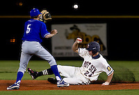 Cheyenne Post 6 centerfielder Brandon Nimmo, right, slides safely into second base on a double during a legion league game against a team from Twin Falls, Idaho on Tuesday, June 21, 2011, at Powers Field in Cheyenne, Wyo. (Photo by James Brosher)