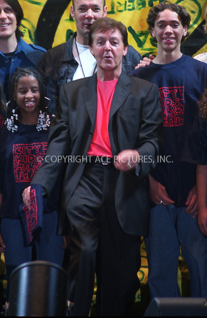Paul McCartney with the City Kids Foundation at Madison Square Garden in New York. April 26, 2002. Please byline: Alecsey Boldeskul/NY Photo Press.   ..*PAY-PER-USE*      ....NY Photo Press:  ..phone (646) 267-6913;   ..e-mail: info@nyphotopress.com