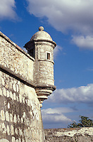 Guard post at the Fuerte San Jose el Alto, a restored Spanish Colonial fort near the city of Campeche, Mexico