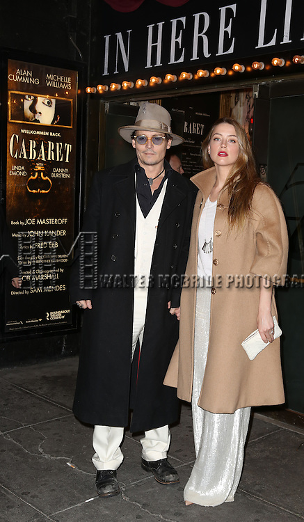 Johnny Depp and Amber Heard attending the Broadway Opening Night Performance of 'Cabaret' at Studio 54 on April 24, 2014 in New York City.