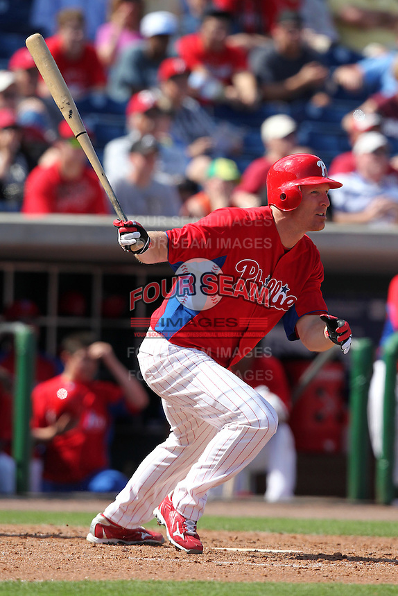 Philadelphia Phillies Pete Orr #5 during a scrimmage vs the Florida State Seminoles  at Bright House Field in Clearwater, Florida;  February 24, 2011.  Philadelphia defeated Florida State 8-0.  Photo By Mike Janes/Four Seam Images