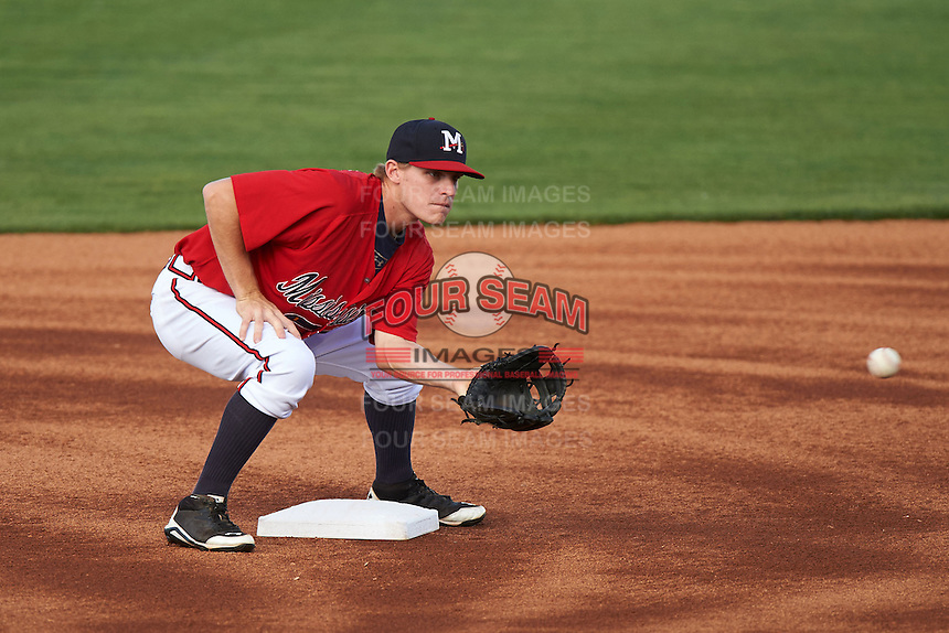 Mississippi Braves second baseman Corban Joseph (2) waits for a throw during a game against the Pensacola Blue Wahoos on May 28, 2015 at Trustmark Park in Pearl, Mississippi.  Mississippi defeated Pensacola 4-2.  (Mike Janes/Four Seam Images)