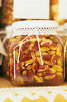 Detail of a jar of roasted pistachios