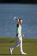 Gainesville, VA - August 2, 2015:    Troy Merritt tips his cap to the crowd on hole 18 at the Robert Trent Jones Golf Club in Gainesville, VA. August 2, 2015.  (Photo by Elliott Brown/Media Images International)