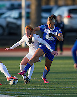 "In a National Women's Soccer League Elite (NWSL) match, the Boston Breakers and  Washington Spirit drew 1-1, at the Dilboy Stadium on April 14, 2012.  Boston Breakers forward Lianne Sanderson (10) pressures Washington Spirit midfielder Victoria ""Tori"" Huster (23)."