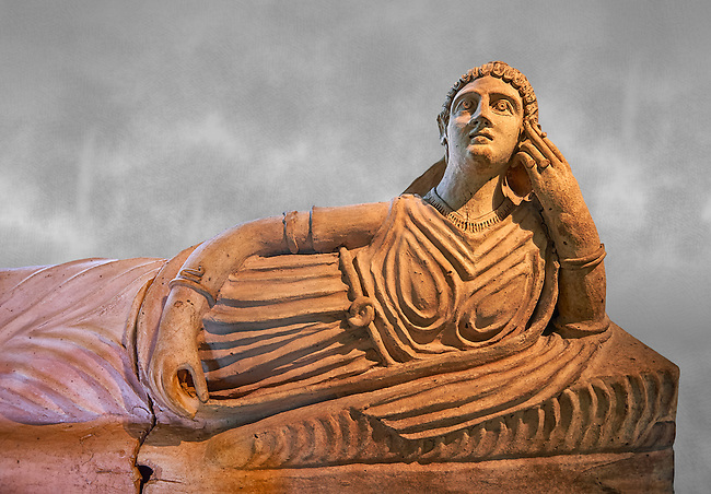 Etruscan Terracotta sarcophagus lid with a female figure reclining, first half of 2nd century BC, inv 15428, The Vatican Museums Rome, Grey Art Background. For use in non editorial advertising apply to the Vatican Museums for a license.