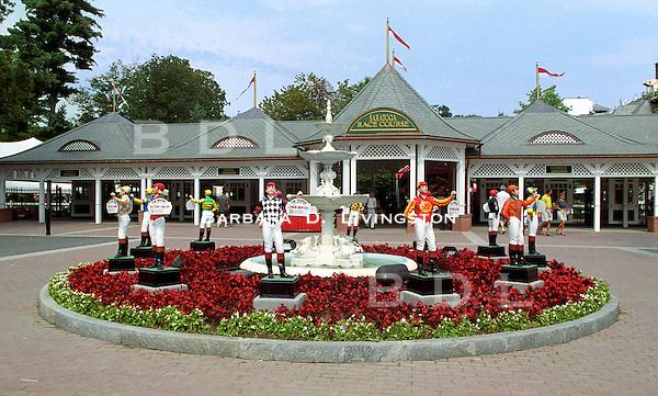 Saratoga clubhouse entrance. Saratoga Race Course, Saratoga Racetrack, beautiful horse racing, Thoroughbred racing, horse, equine, racehorse, morning mood scenic, mood, horse racing, pretty, racehorse, horse, equine, racetrack, track, saratoga