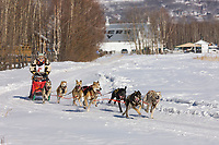 Magali Philip races by Creamer's field migratory waterfowl refuge in the 2008 Open North American Championship sled dog race, third heat, March 16, 2008.