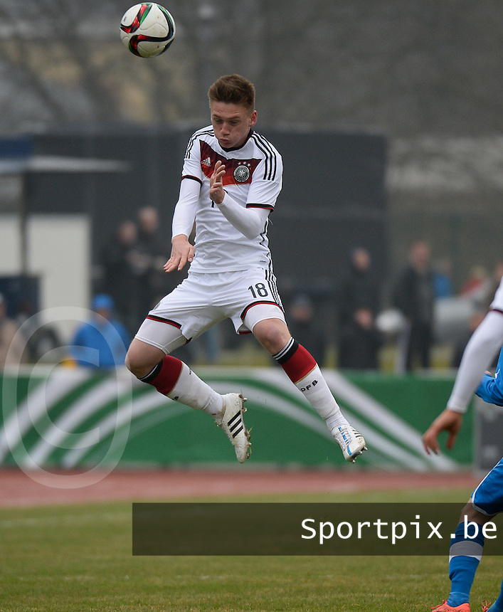 20150321 - Wetzlar , GERMANY  : German Jonas Busam pictured during the soccer match between Under 17 teams of Germany and Slovakia , on the first matchday in group 8 of the UEFA Elite Round Under 17 at Stadion Wetzlar , Wetzlar Germany . saturday 21 th March 2015 . PHOTO DAVID CATRY