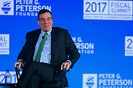 Washington, DC - May 23, 2017: U.S. Senator Mark Warner participates in the 2017 Fiscal Summit hosted by the Peter G. Peterson Foundation at the Andrew Mellon W. Mellon Auditorium in the District of Columbia May 23, 2017.  (Photo by Don Baxter/Media Images International)