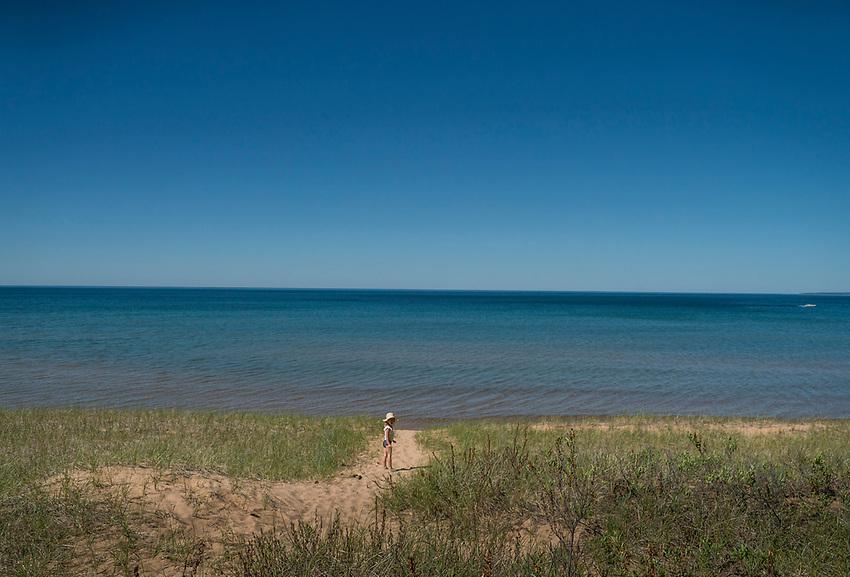 Kids at a Lake Superior beach on Michigan's Upper Peninsula.