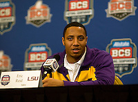 LSU Safety Eric Reid talks with the reporters during the LSU Defensive Press Conference at Marriott Hotel at the Convention Center on January 5th, 2011.