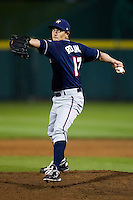 Heath Rollins (17) of the Northwest Arkansas Naturals winds up during a game against the Springfield Cardinals on May 13, 2011 at Hammons Field in Springfield, Missouri.  Photo By David Welker/Four Seam Images.