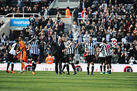 Newcastle United players celebrate after the final whistle during Newcastle United vs Arsenal, Premier League Football at St. James' Park on 15th April 2018