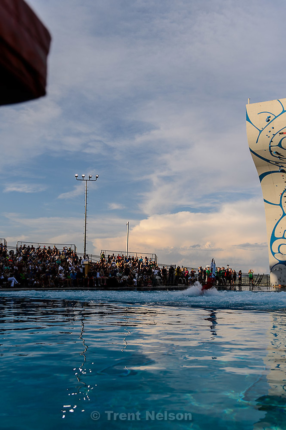 Trent Nelson  |  The Salt Lake Tribune<br /> <br /> Saturday evening is the grad opening of the expanded Spence Eccles Olympic Freestyle Pool at Utah Olympic Park. The Eccles family donated $1 million to kick off a $3 million fundraising campaign to expand the pool and replace four old wooden jumps with seven metal jumps that have different lift-off angles suited to the various Winter Olympic sports disciplines.<br /> <br /> <br /> , Saturday June 27, 2015.