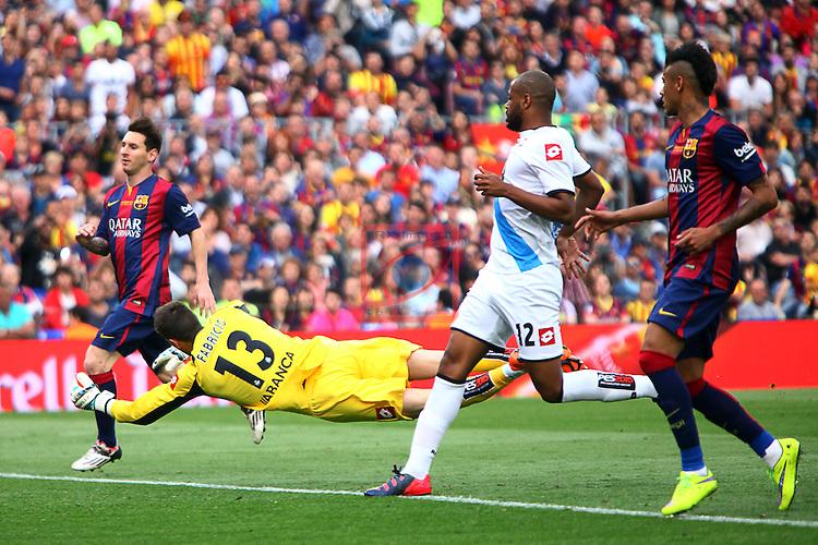 League BBVA 2014/2015. Game: 38.<br /> FC Barcelona vs Deportivo: 2-2.<br /> Messi, Fabricio, Sidnei &amp; Neymar.