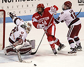 Beth Larcom (Harvard - 31), Maddie Elia (BU - 14), Lexie Laing (Harvard - 16) - The Harvard University Crimson tied the Boston University Terriers 6-6 on Monday, February 7, 2017, in the Beanpot consolation game at Matthews Arena in Boston, Massachusetts.