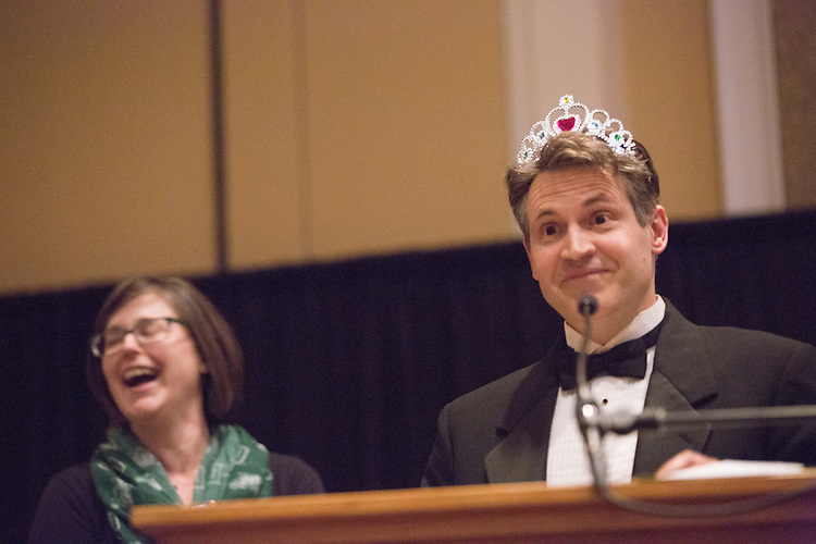 Dr. John McCarthy takes the stage after Dr. Jenny Hall-Jones crowned him the winner of the 8th Annual Ava Nichols Faculty Pageant on Feb. 27, 2017. McCarthy said he would do anything for kids.